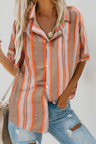 Brown Button Striped Short Sleeves Shirt LC255995-17