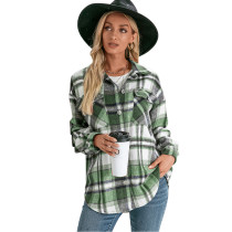 Green Plaid Print Cashmere Long Sleeve Shirt Jacket TQK280108-9