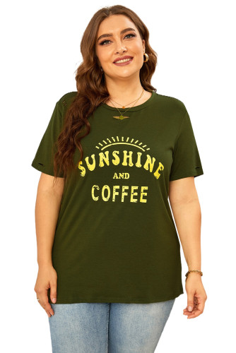 SUNSHINE AND COFFEE Graphic Ripped Plus Size Tee LC2524582-9