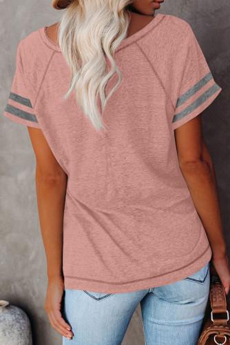 Pink Stripe Sleeve Colorblock T-shirt LC2527921-10