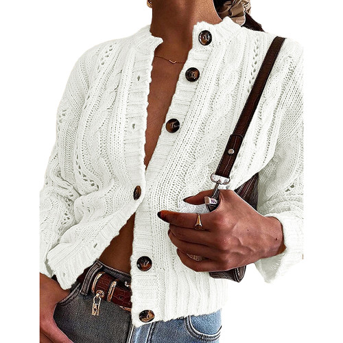 White Button-up Cable Knit Cardigan TQK271313-1