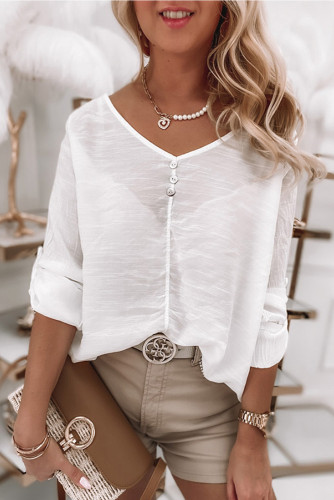 White Lace Back Button V Neck Top LC2551787-1