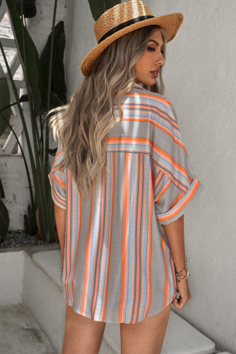 Gray Button Striped Short Sleeves Shirt LC255995-11