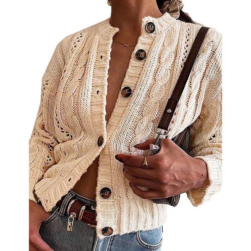Khaki Button-up Cable Knit Cardigan TQK271313-21