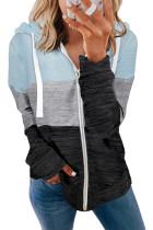 Sky Blue Colorblock Zip Front Hooded Coat LC8511389-4