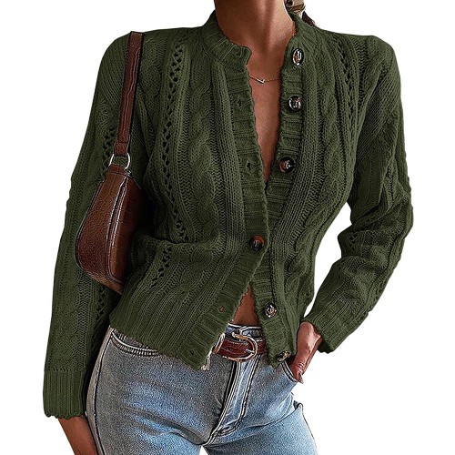 Army Green Button-up Cable Knit Cardigan TQK271313-27