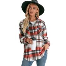 Red Plaid Print Cashmere Long Sleeve Shirt Jacket TQK280108-3
