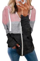 Pink Colorblock Zip Front Hooded Coat LC8511389-10