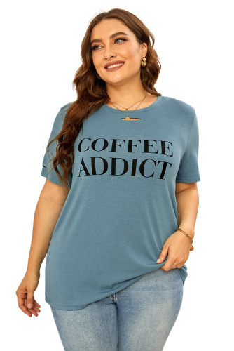 COFFEE ADDICT Graphic Ripped Plus Size Tee LC2524582-11