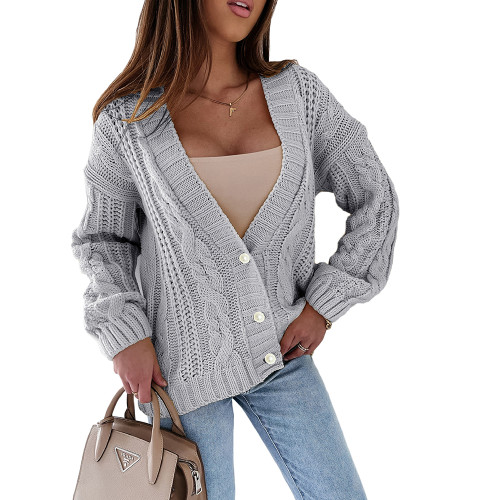 Gray Chunky Wide Button Front Cardigan TQK271312-11