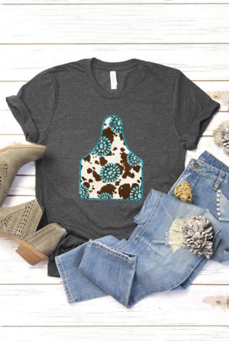 Solid Gray Turquoise Cow Ox Horn Tag Graphic Tee LC25212198-11