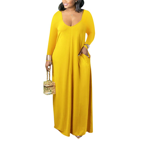 Yellow V Neck Long Sleeve Maxi Dress TQK310666-7