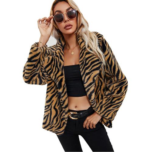 Brown Tiger Print Turndown Collar Faux Fur Coat TQK280112-17