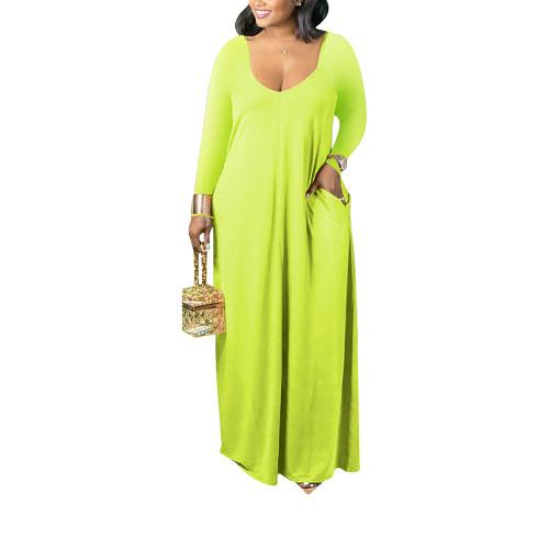 Fluorescent Green V Neck Long Sleeve Maxi Dress TQK310666-57