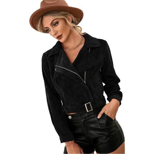 Black Corduroy Side Zipper Short Jacket TQK280110-2