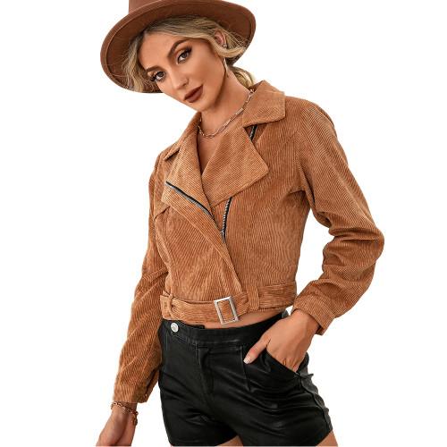 Khaki Corduroy Side Zipper Short Jacket TQK280110-21