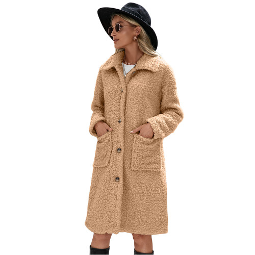 Khaki Turndown Collar Single Breasted Long Furry Coat TQK280113-21