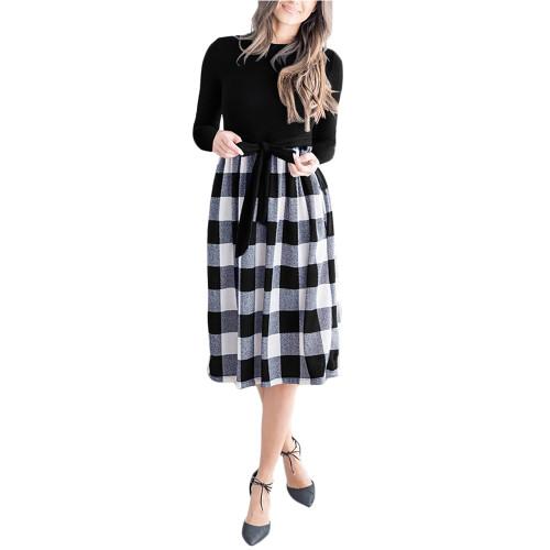 Gray Splice Plaid Tie Waist Long Sleeve Dress TQK310668-11
