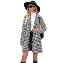 Beige Houndstooth Double Breasted Woolen Long Coat TQK280116-46