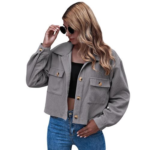 Gray Corduroy Pocket Button Short Jacket TQK280109-11