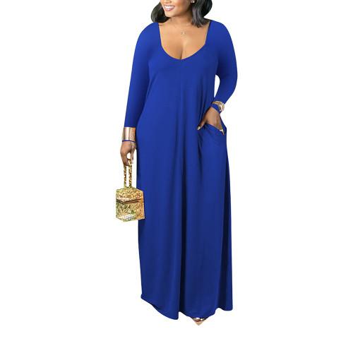 Blue V Neck Long Sleeve Maxi Dress TQK310666-5