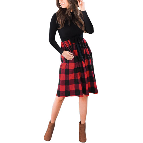 Red Splice Plaid Tie Waist Long Sleeve Dress TQK310668-3