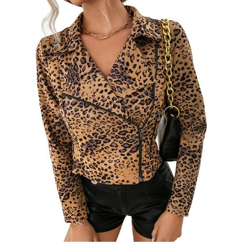 Khaki Leopard Print Side Zipper Short Jacket Coat TQK280111-21