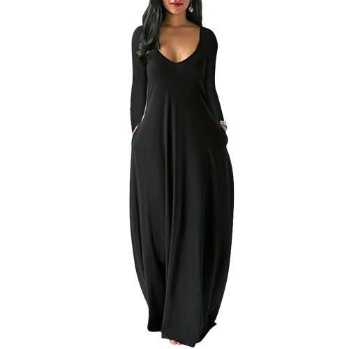Black V Neck Long Sleeve Maxi Dress TQK310666-2