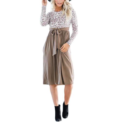 Khaki Splice Leopard Tie Waist Long Sleeve Dress TQK310668-21