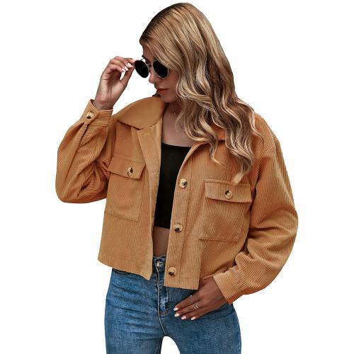 Khaki Corduroy Pocket Button Short Jacket TQK280109-21