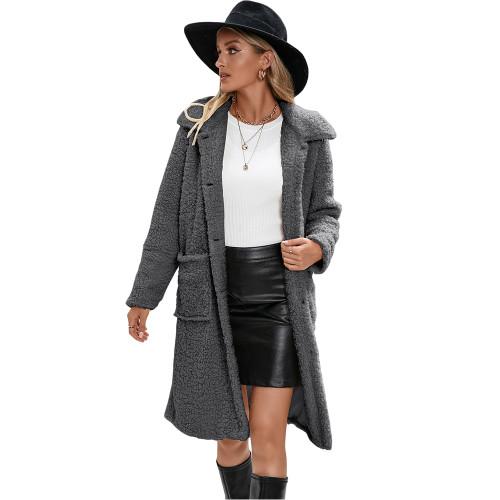 Gray Turndown Collar Single Breasted Long Furry Coat TQK280113-11