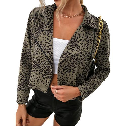 Green Leopard Print Side Zipper Short Jacket Coat TQK280111-9