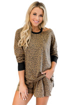 Leopard Print Hollow-out Blouse and Shorts Lounge Wear LC4512074-17