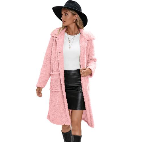 Pink Turndown Collar Single Breasted Long Furry Coat TQK280113-10