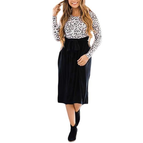 Black Splice Leopard Tie Waist Long Sleeve Dress TQK310668-2