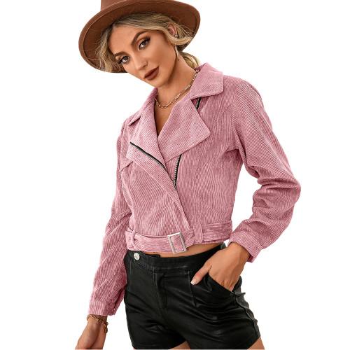 Pink Corduroy Side Zipper Short Jacket TQK280110-10