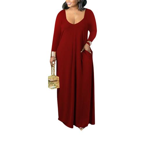 Wine Red V Neck Long Sleeve Maxi Dress TQK310666-23