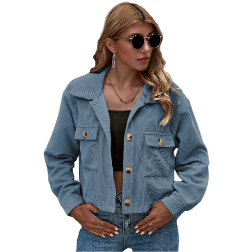 Blue Corduroy Pocket Button Short Jacket TQK280109-5