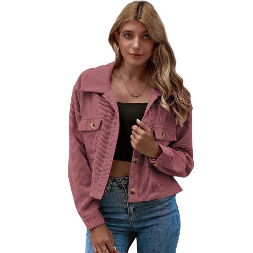 Pink Corduroy Pocket Button Short Jacket TQK280109-10