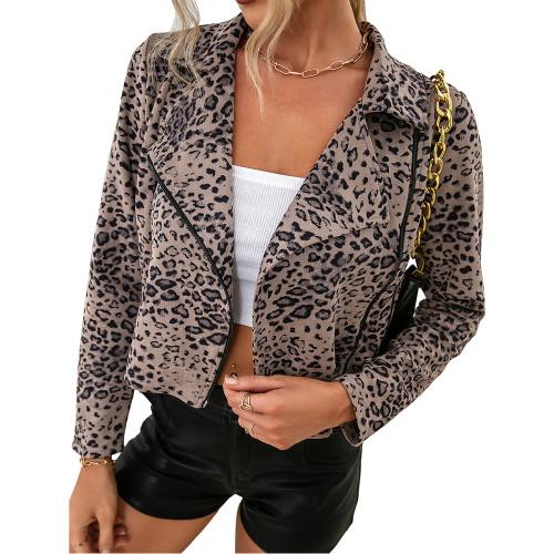 Apricot Leopard Print Side Zipper Short Jacket Coat TQK280111-18