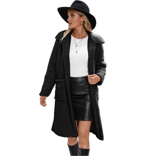 Black Turndown Collar Single Breasted Long Furry Coat TQK280113-2