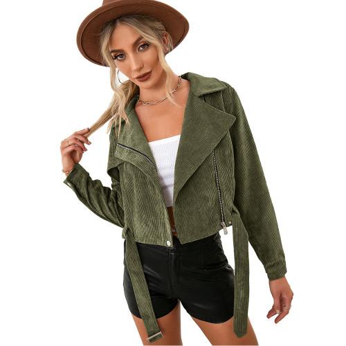Army Green Corduroy Side Zipper Short Jacket TQK280110-27