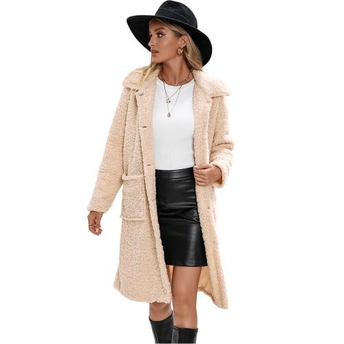 Apricot Turndown Collar Single Breasted Long Furry Coat TQK280113-18