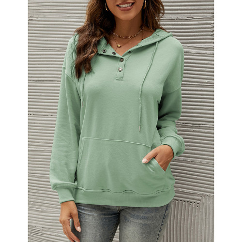 Light Green Solid Button Neckline Loose Hoodie TQK230331-28