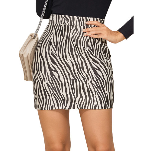 Black Zebra Print Suede Cashew Flowers Mini Skirt TQK360037-2