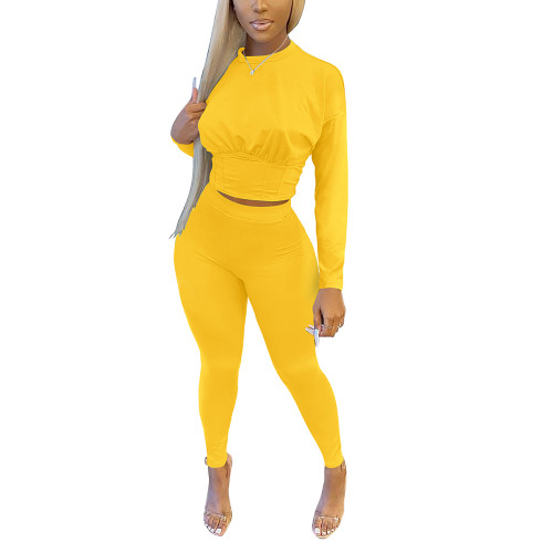 Yellow Slim Waist Long Sleeve Pant Set TQK710404-7
