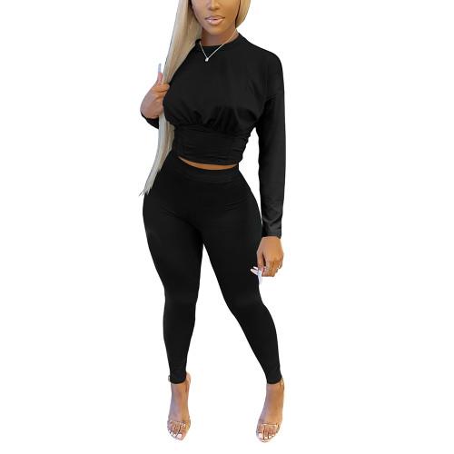 Black Slim Waist Long Sleeve Pant Set TQK710404-2