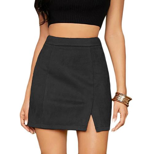 Black Suede Split High Waist Mini Skirt TQK360036-2