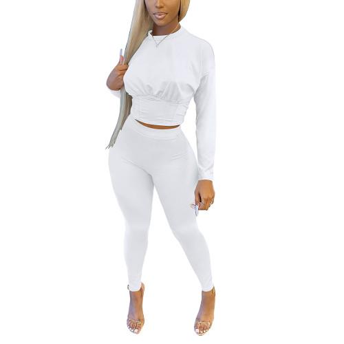 White Slim Waist Long Sleeve Pant Set TQK710404-1