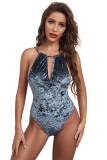 Gray Halter Backless Velvet Bodysuit LC32847-11